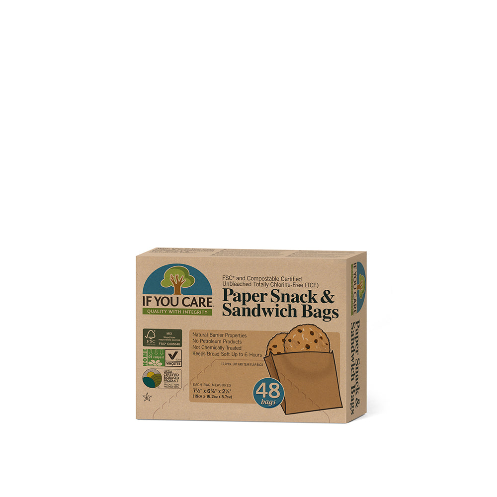 Paper Snack & Sandwich Bags - FSC & Compostable Certified Unbleached