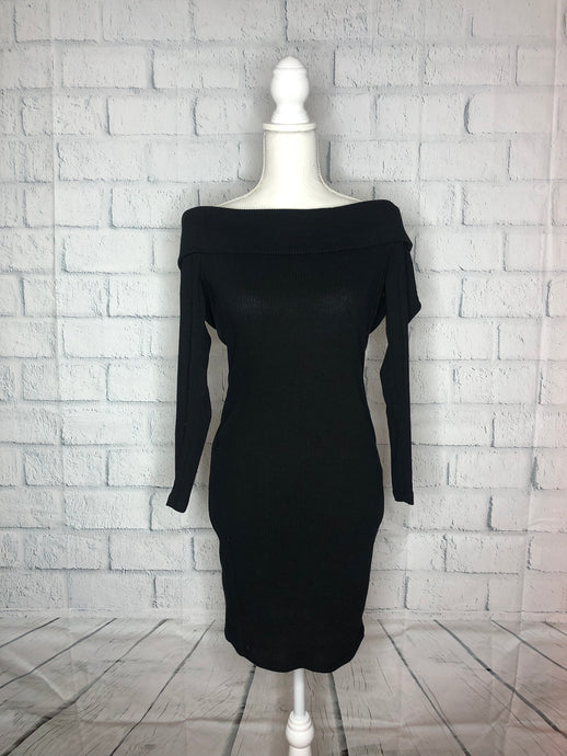 Black Shoulderless Plus Size Dress