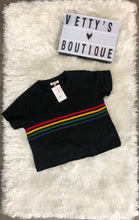 Load image into Gallery viewer, Rainbow Crop Top - Black