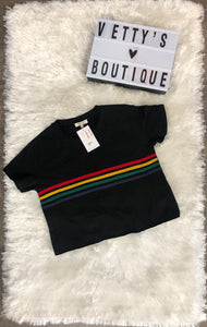 Rainbow Crop Top - Black