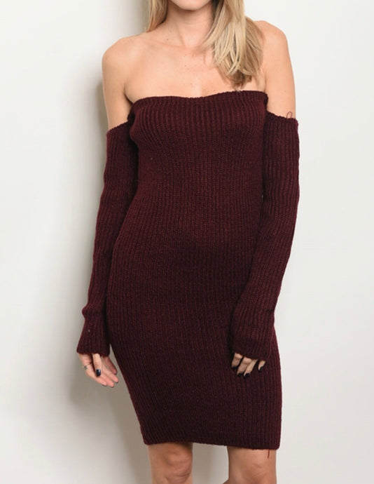 Plum Shoulder-less Dress