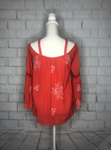 Orange Embroidered Cold Shoulder