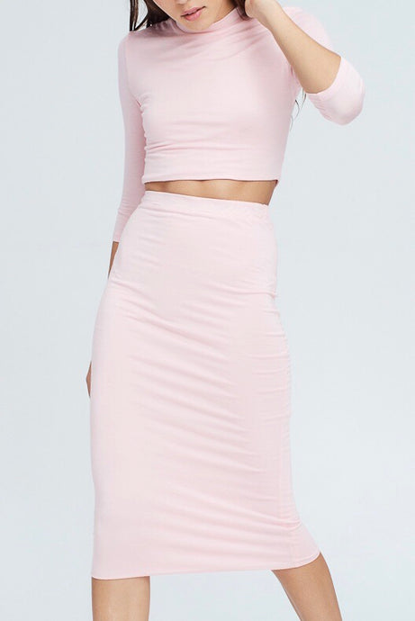 Pretty In Pink Set - Crop Top & Skirt (2 piece)