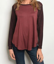Load image into Gallery viewer, Wine Long Sleeve Top