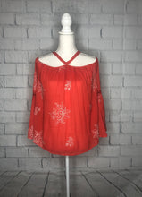 Load image into Gallery viewer, Orange Embroidered Cold Shoulder