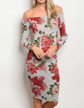 Load image into Gallery viewer, Grey Floral Medi Dress