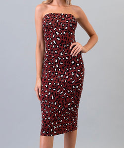 Mel Leopard Dress - Burgundy