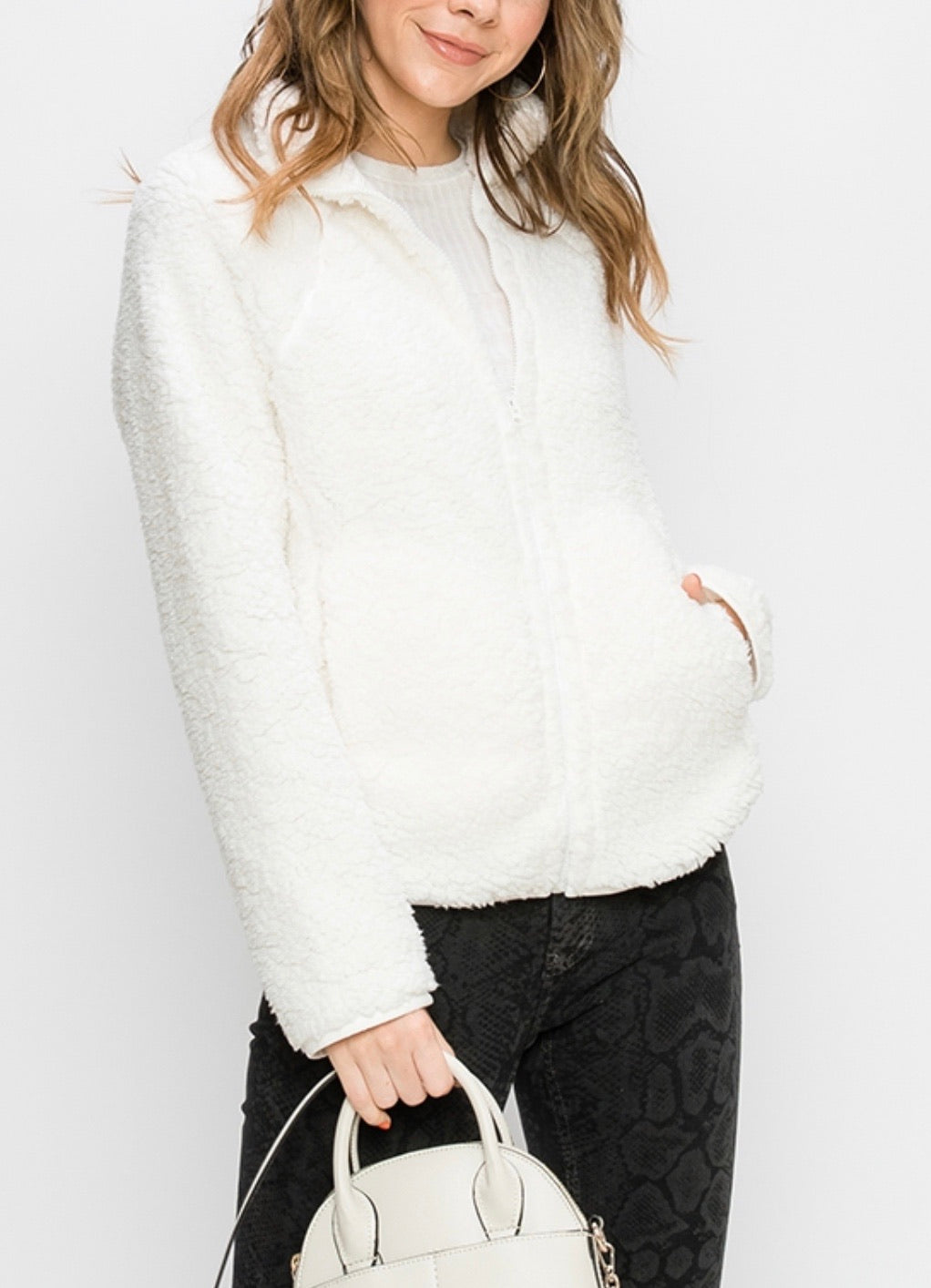 Uptown Sherpa Fleece Jacket - Cream