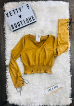 Load image into Gallery viewer, Mustard Suede Crop Top