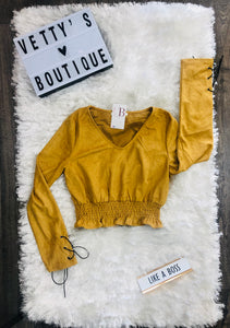 Mustard Suede Crop Top