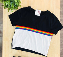 Load image into Gallery viewer, Support Pride Crop Top - Black