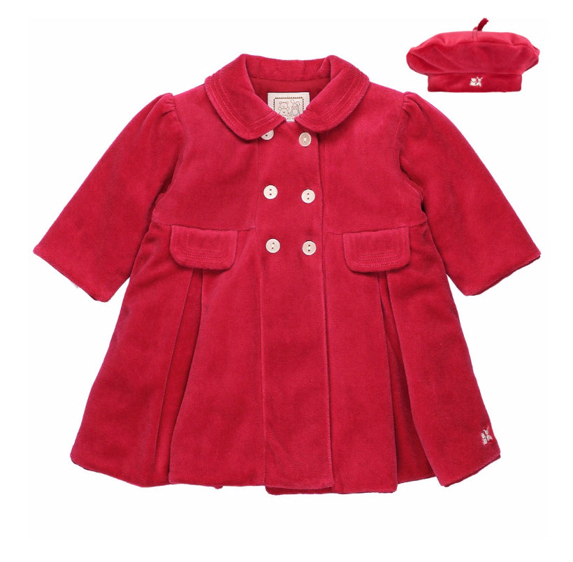 Rosanna Red Velour Coat & hat Set