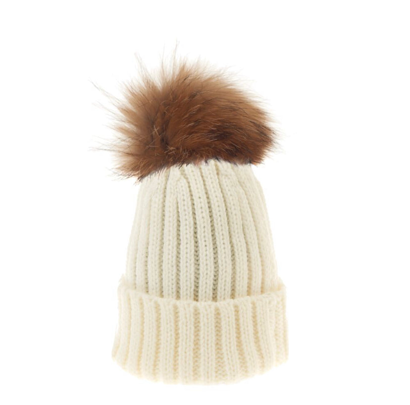 Winter White Ribbed Hat Adult