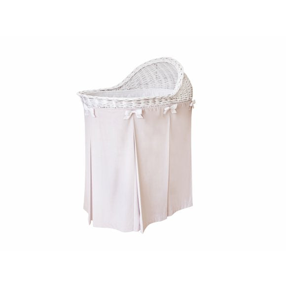 Mobile Wicker Basket with Light Pink Skirt