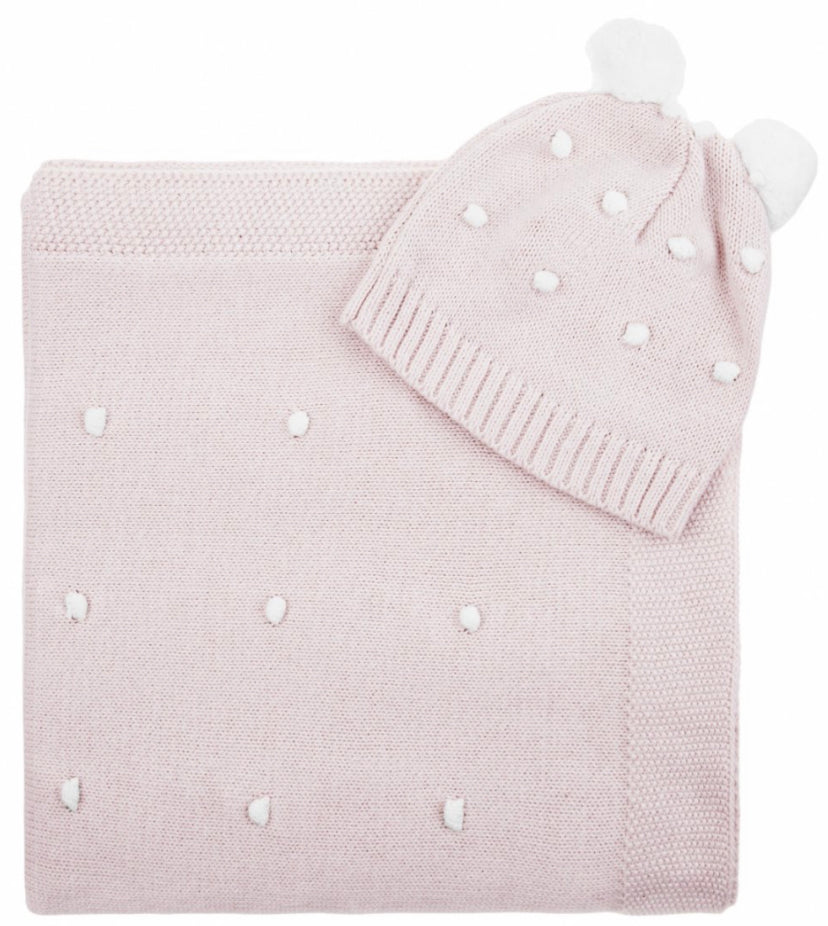 Pink knitted blanket and hat gift set