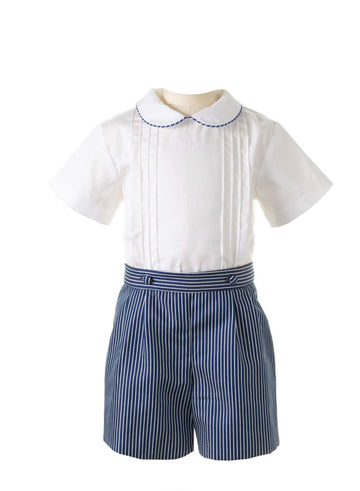 Pintuck Shirt and Stripe Short Set