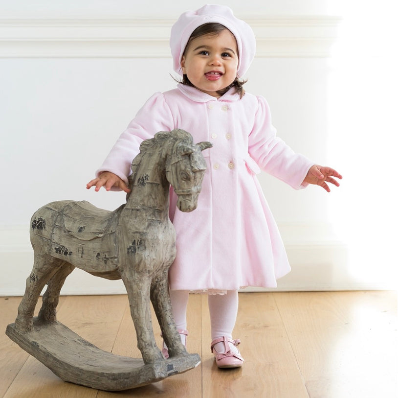 Rosanna Pink Velour Coat & hat Set