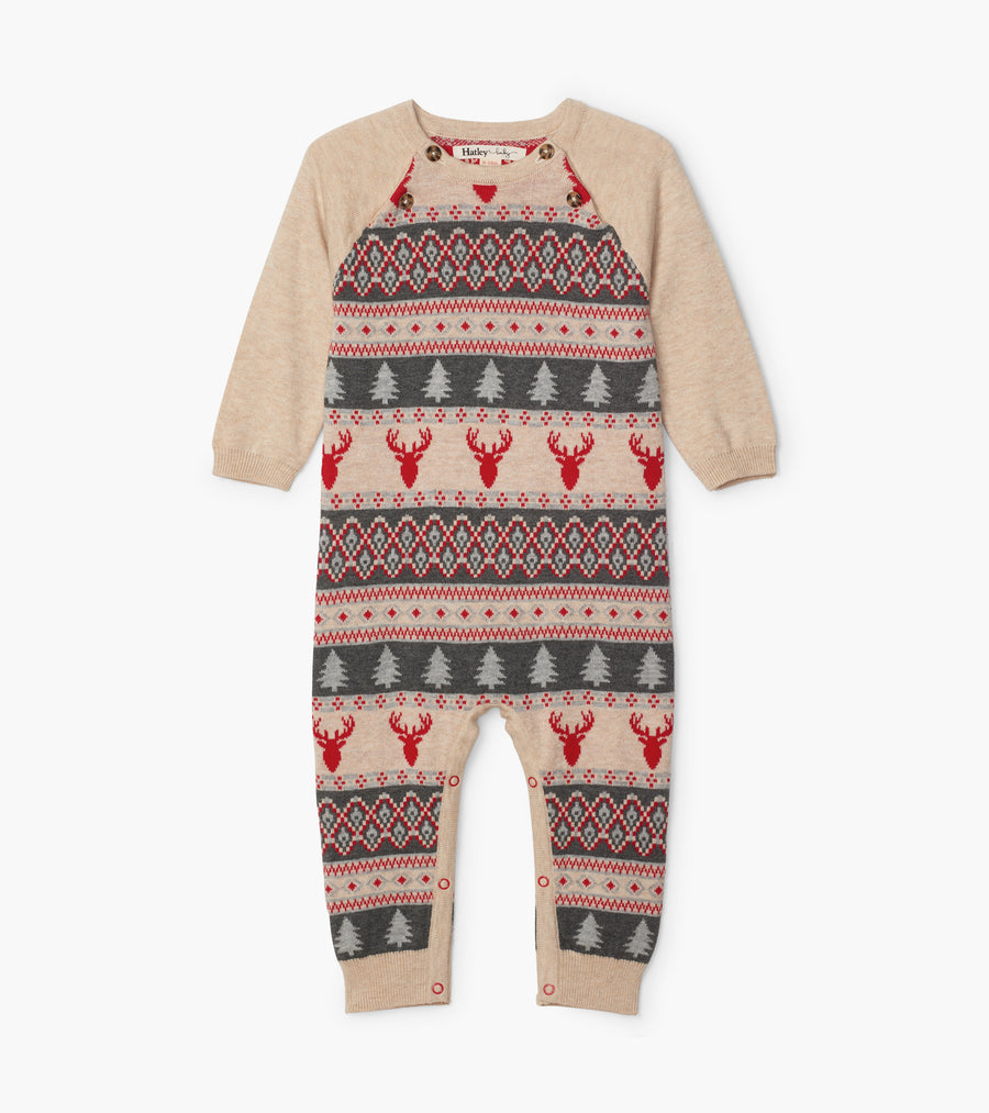 Fair isle stag sweater romper