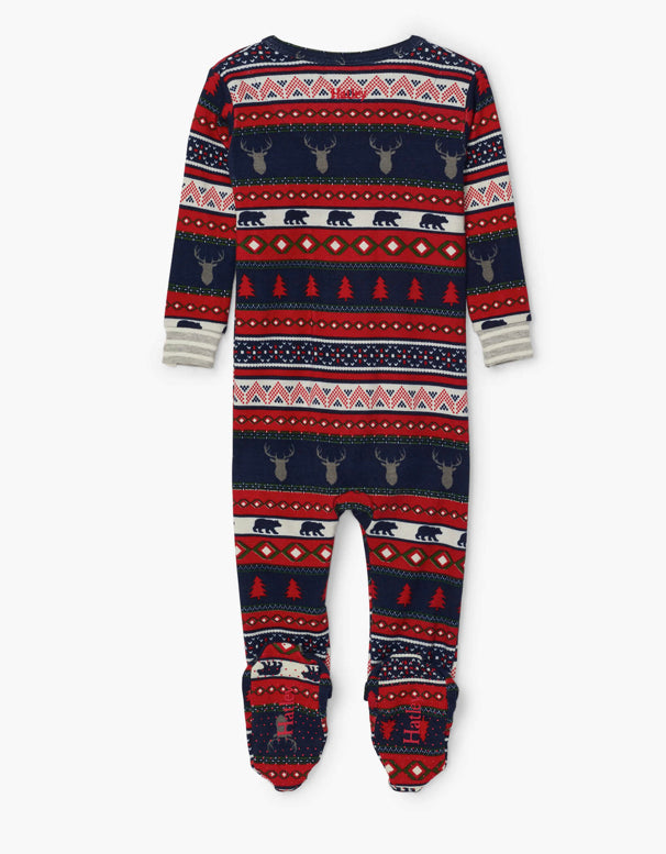 Fair isle stags organic cotton all in one