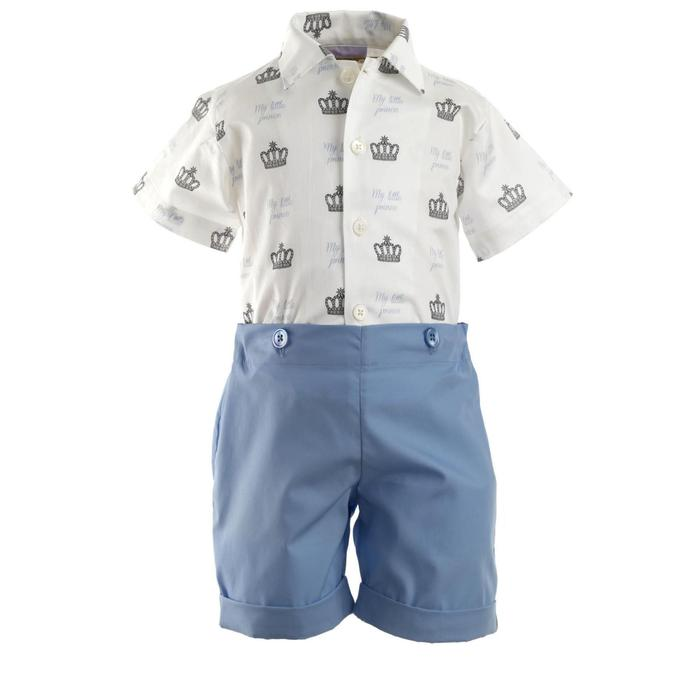Prince Crown Print and Shirt Set-Blue & White