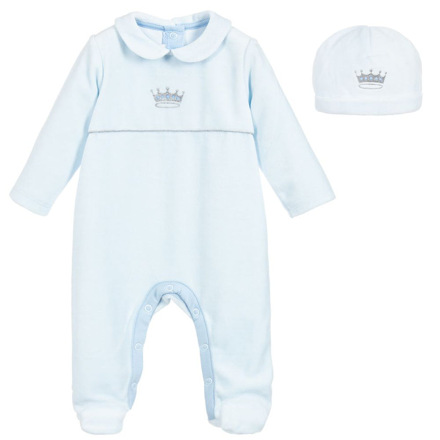 My Little One Blue Embroidered Velour Babygrow Gift Set