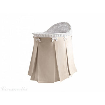 Mobile Wicker Basket with Beige Skirt