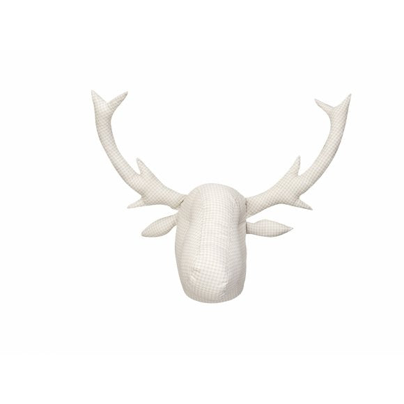 Beige Houndstooth Moose Head-Beige
