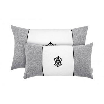 Manhattan Pillow Small-Grey & White