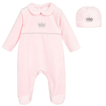 My Little One Pink Embroidered Velour Babygrow Gift Set