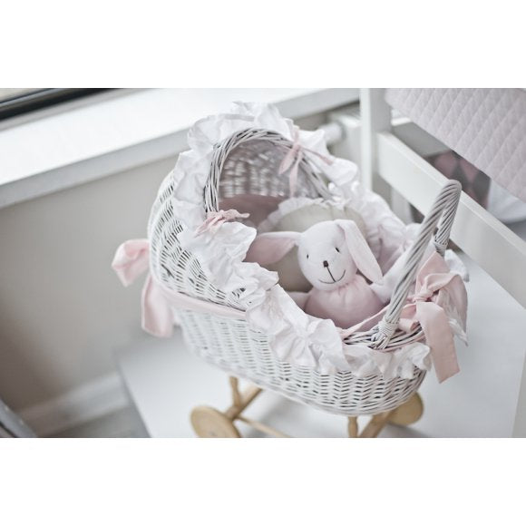 Small Wicker Trolley-Pink & White