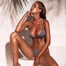 Load image into Gallery viewer, grey bikini two piece set