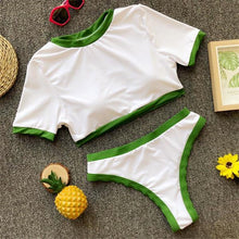 Load image into Gallery viewer, Green and white T shirt bikini set swimwear for woman