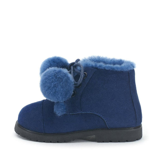 Zoey Pompon Blue Boots by Age of Innocence