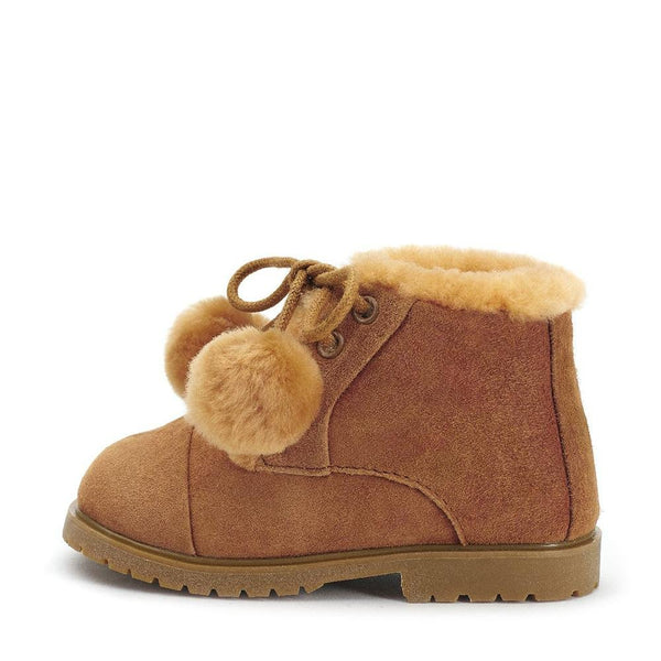 Zoey Pompon Brown Boots by Age of Innocence