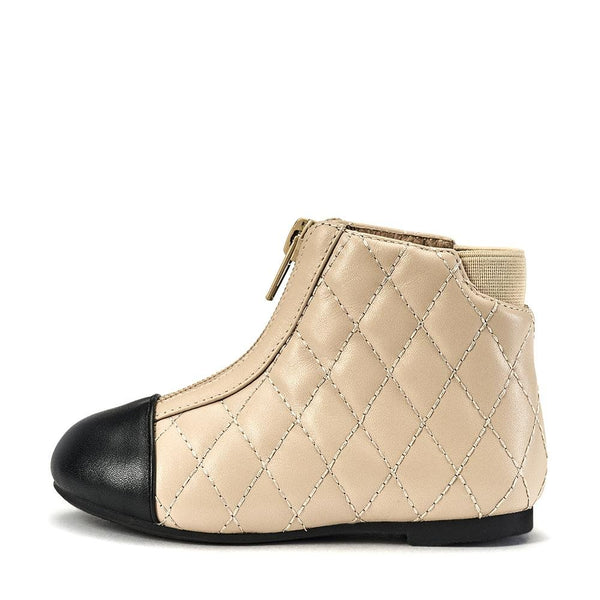Nicole Beige/Black Boots by Age of Innocence