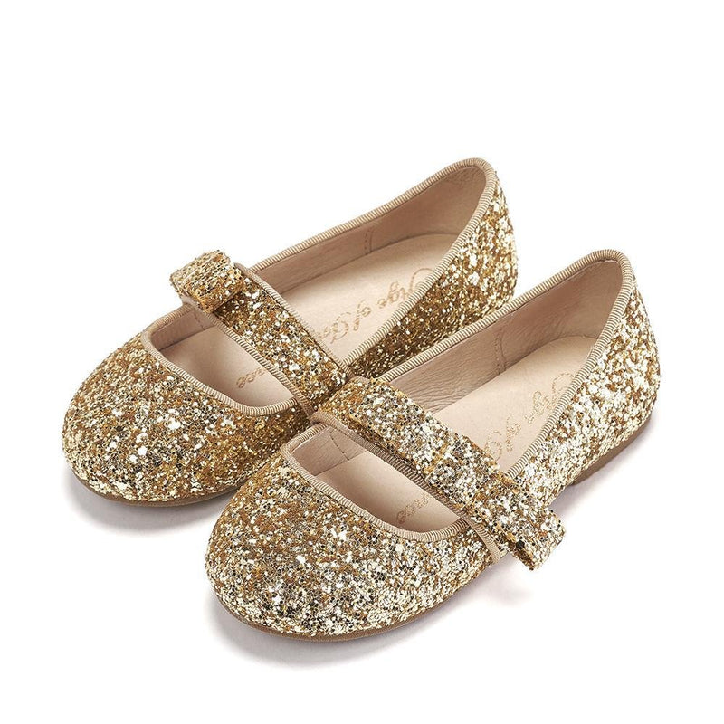 Mia Glitter Gold Shoes by Age of Innocence