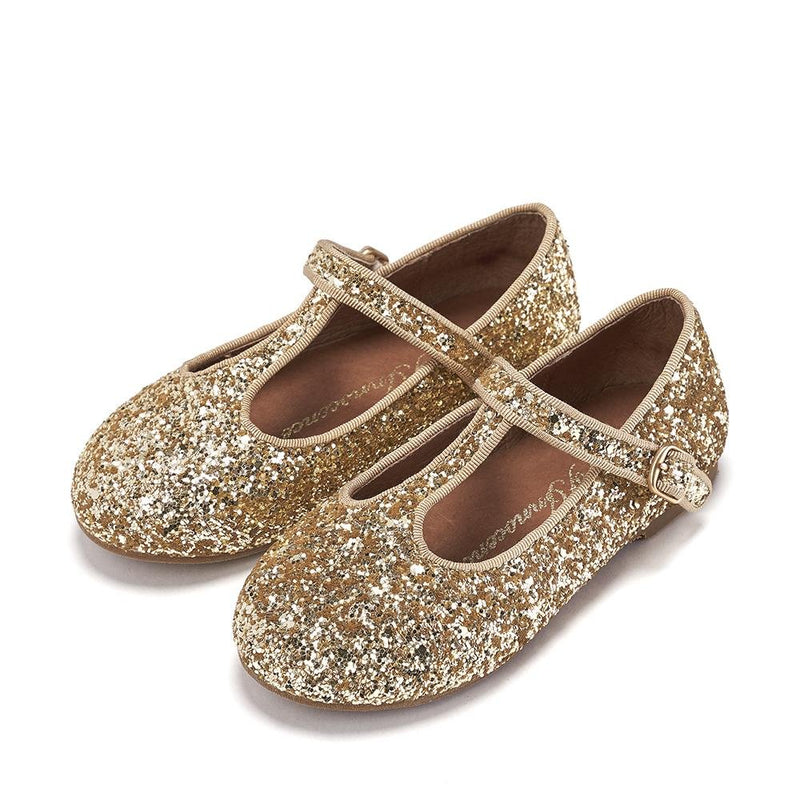 Abigail Glitter Gold Shoes by Age of Innocence