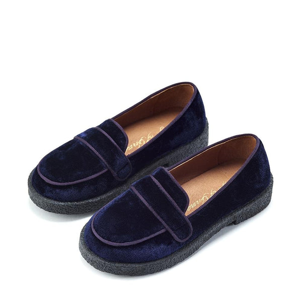 Bobby Velvet Navy Shoes by Age of Innocence