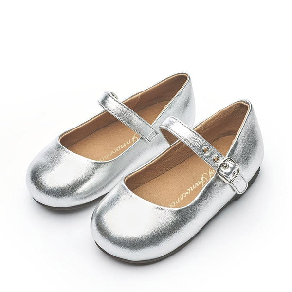 Eva Leather Silver Shoes by Age of Innocence