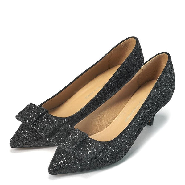 Jacqueline Glitter Black Shoes by Age of Innocence