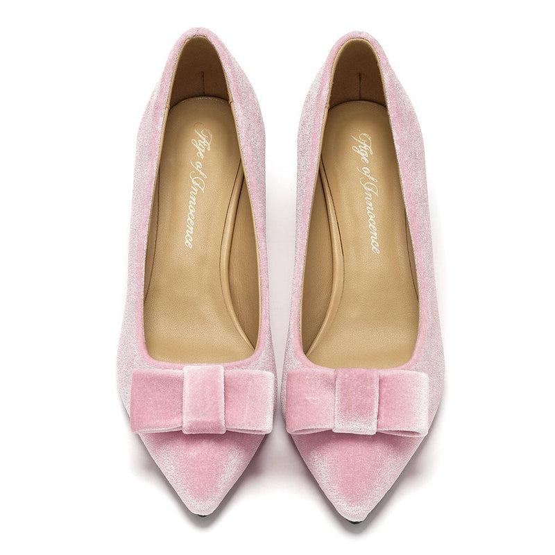 Jacqueline Velvet Pink Shoes by Age of Innocence