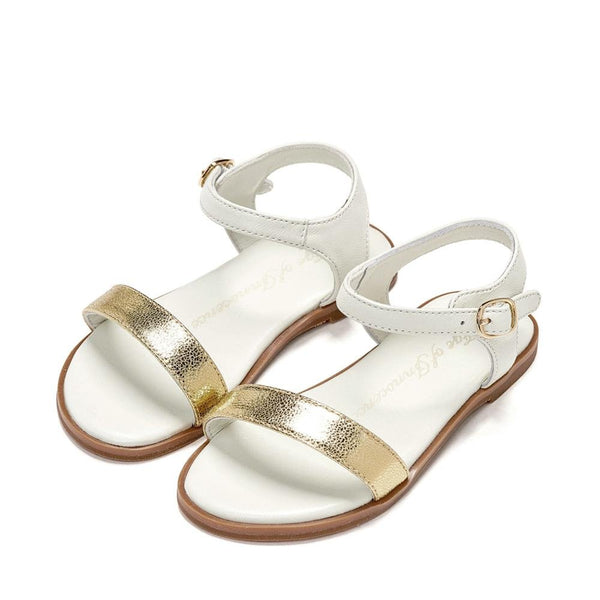 Lina White/Gold Sandals by Age of Innocence