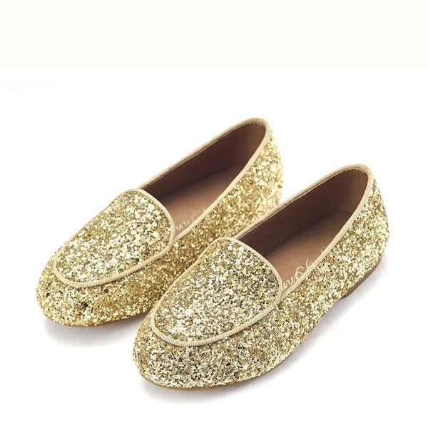 Piper Glitter Gold Loafers by Age of Innocence