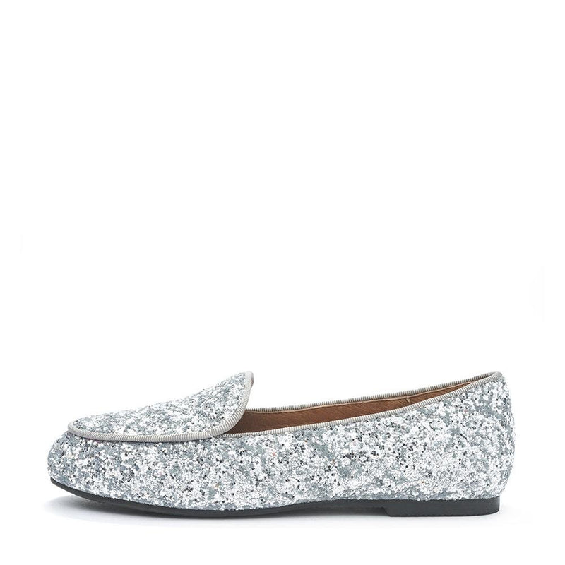 Piper Glitter Silver Loafers by Age of Innocence