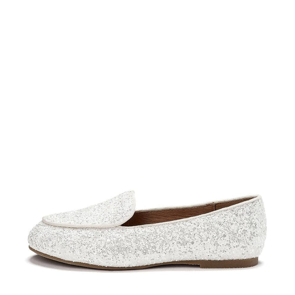 Piper Glitter White Loafers by Age of Innocence