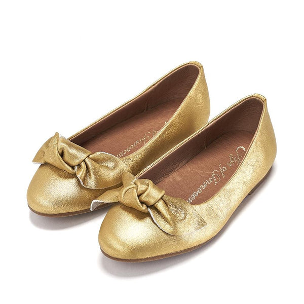 Poppy Leather Gold Ballerinas by Age of Innocence