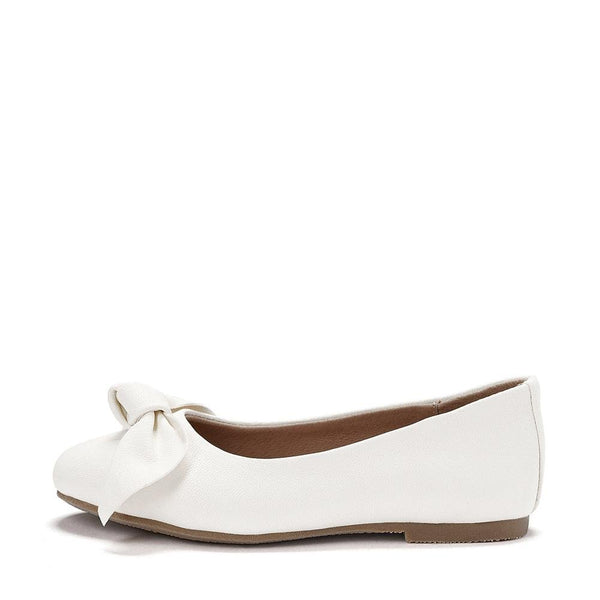 Poppy Leather White Ballerinas by Age of Innocence