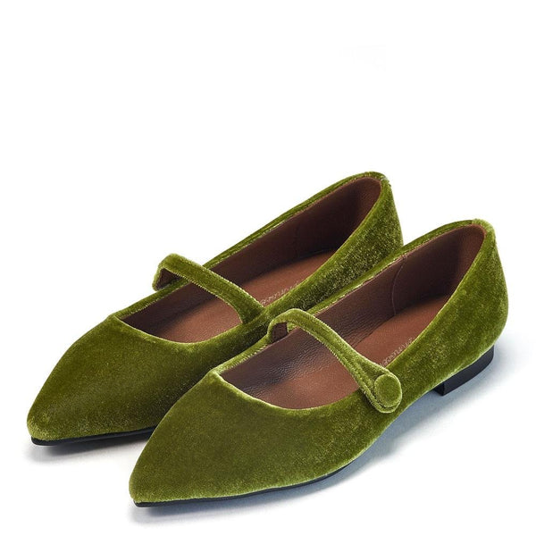 Thea Velvet Green Shoes by Age of Innocence