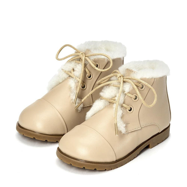 Zoey Leather Beige Boots by Age of Innocence