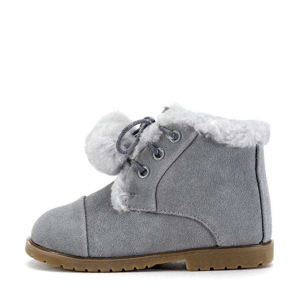 Zoey Pompon Grey Boots by Age of Innocence